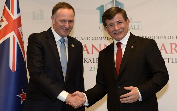 John Key (left) and Turkish Prime Minister Ahmet Davutoglu.