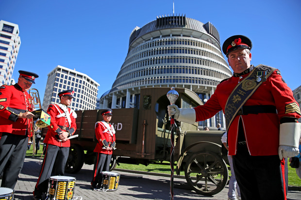 Brass Band ready for the WW1 parade in Wellington.