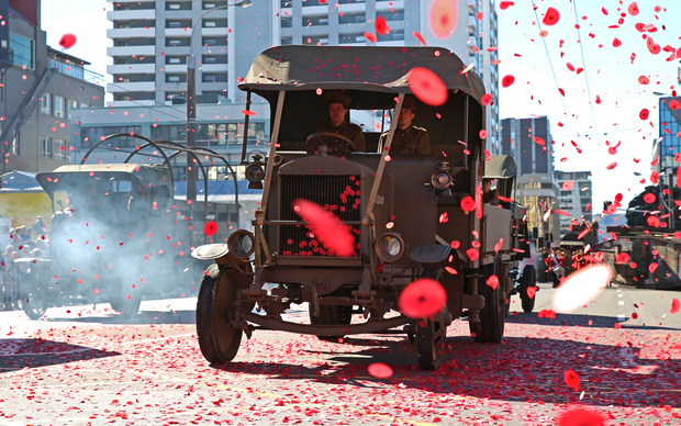 Poppy confetti litters the sky of Wellington.