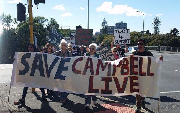 A rally in Auckland to support Campbell Live.