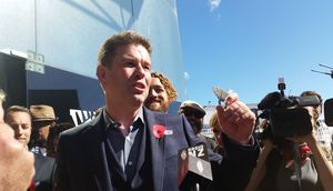 John Campbell at a rally which aimed to save his show outside the MediaWorks building in Auckland.