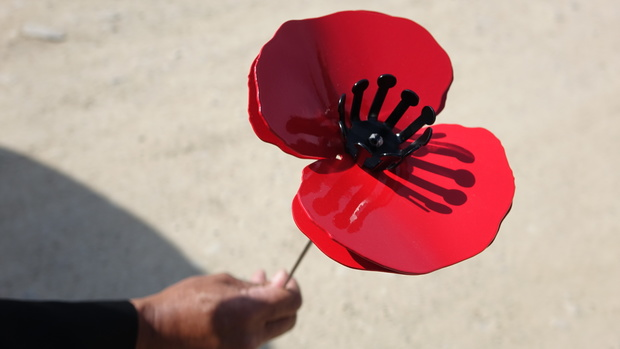 Mary-Anne O'Donnell made a metre-high metal poppy to be laid on behalf of her son Tim at Chunuk Bair.