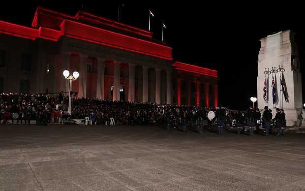 Crowds gather at the Cenotaph in Auckland.