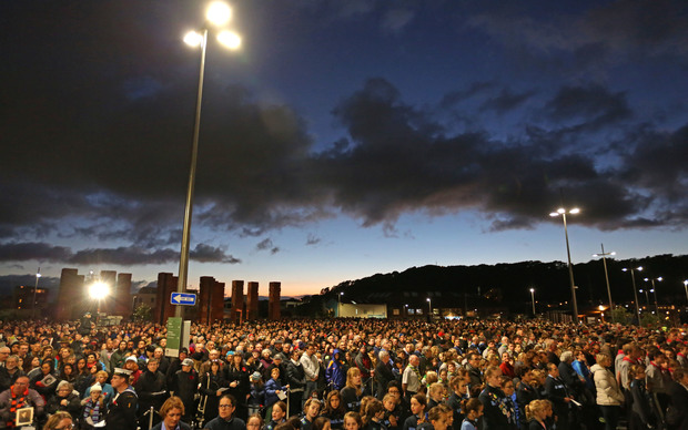 It is estimated that up to 20,000 people attended the service at the Pukeahu National War Memorial.