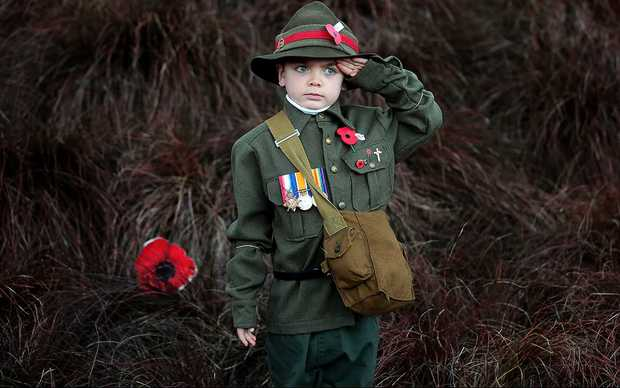 A boy at the Auckland Domain for the dawn service.