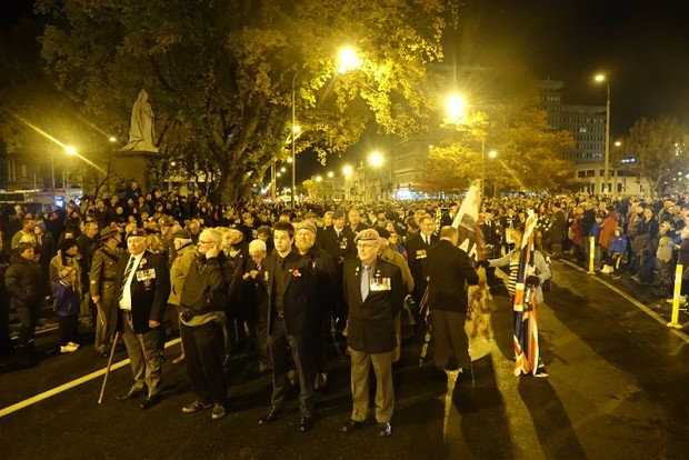 An estimated 10,000 people at the Queen's Gardens Cenotaph in Dunedin.