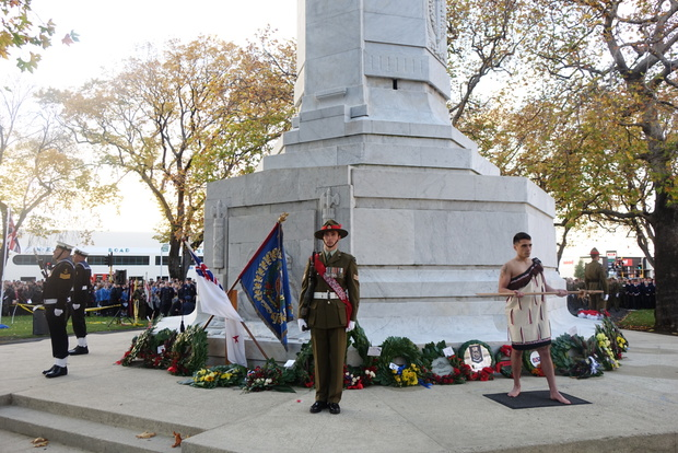 An estimated 10,000 people attended a service at the Queen's Gardens Cenotaph in Dunedin.