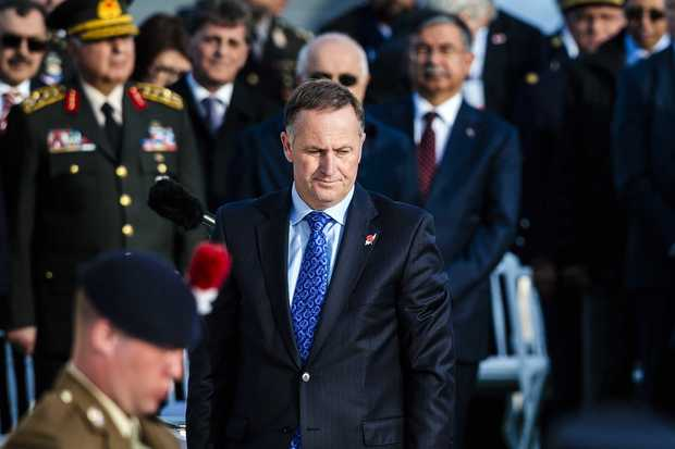 New Zealand Prime Minister John Key attends a memorial service marking the 100th anniversary of the start of the Battle of Gallipoli