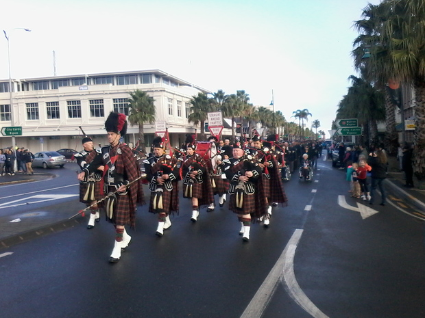 A band marches in Gisborne to mark Anzac Day.