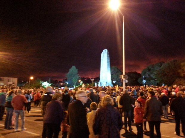 Crowds gather for the dawn service at the cenotaph in Invercargill.