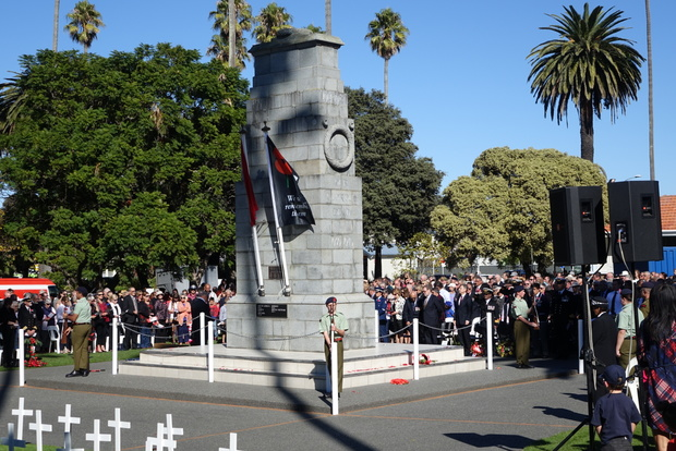 Crowds gather for an Anzac Day memorial service in Napier.