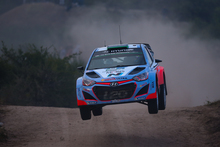 New Zealander driver Hayden Paddon steers his Hyundai i20 WRC with co-driver John Kennard during the WRC Rally Argentina on 25 April.