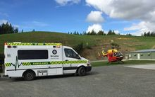 The Waikato Rescue Helicopter at Hinuera, Waikato.