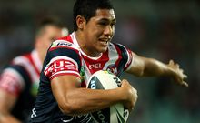 The Roosters fullback Roger Tuivasa-Scheck in action.