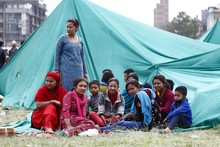 Tent cities are springing up in Nepal, as hospitals struggle to cope.