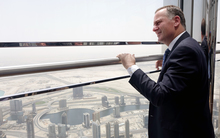 John Key takes in Dubai from the 148th floor of the Burj Khalifa.