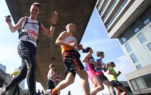 Runners compete at the London Marathon.