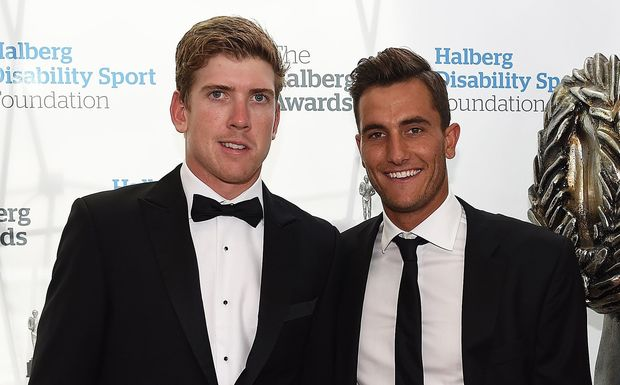 NZ sailors Peter Burling and Blair Tuke pose for a picture on the red carpet at the 52nd Halberg Awards.