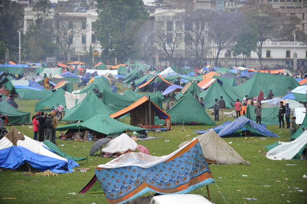Tent cities have sprung up in Kathmandu for those displaced by the earthquake.