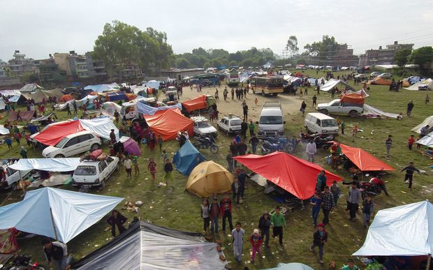 Aerial images show a campsite in the Chuchepati area of the Kathmandu Valley, Nepal.