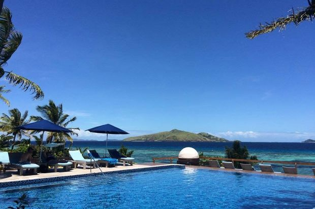 Poolside view at the Sheraton in Fiji