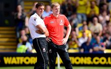 Bournemouth football manager Eddie Howe and assistant Jason Tindall.