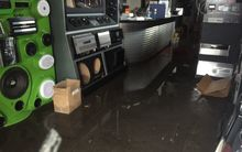 Flood damage at Streetsoundz at the Basin Reserve.