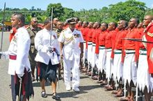 Fiji PM Frank Bainmarama inspects a military pass out parade.