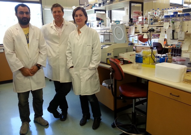 A photo from left to right of Jiffin Khosa, Richard Macknight and Robyn Lee in the lab