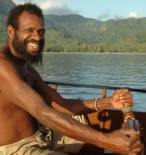 Off Vanuatu's southern island of Pentecost, Molbos Watas, the chief of the Porroro tribe.