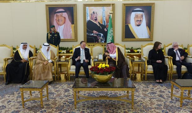 John Key talks to Deputy Crown Prince Mohammed Bin Naif.