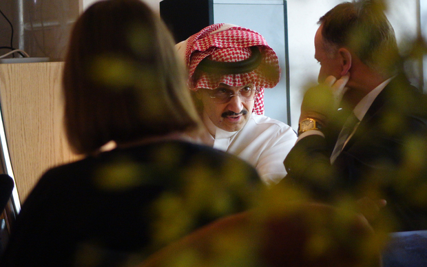 John Key meets His Royal Highness Prince Alwaleed Bin Talal at The Four Seasons.