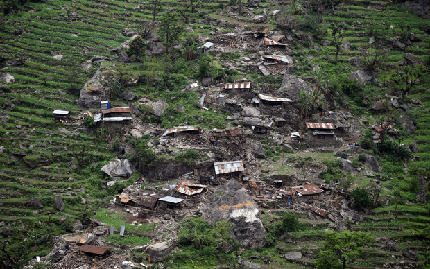 Damaged houses can be seen from an Indian Army helicopter in Gorkha, Nepal.