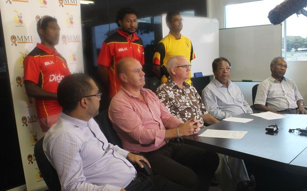Players and officials at the announcement of the Cricket PNG National Squads for 2015.