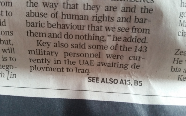Mr Key's comments reported in the Gulf News.