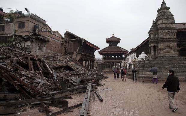 A collapsed structure on the outskirts of the Nepalese capital Kathmandu.