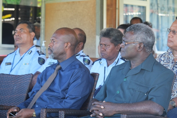 PM Sogavare and his Deputy Douglas Ete listen to speeches at GBR