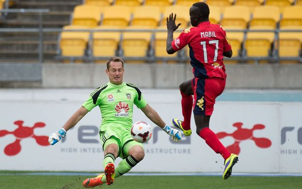 Awer Mabil in action against Wellington Phoenix keeper Glen Moss recently
