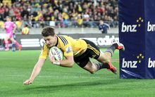 Hurricane first five Beauden Barrett scores against the Crusaders 2015.