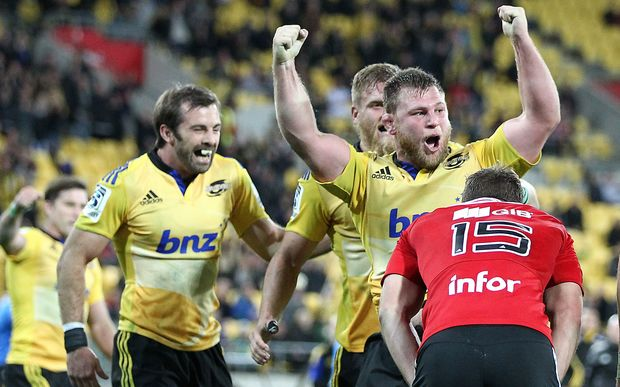Hurricanes prop Reggie Goodes celebrates after scoring against the Crusaders 2015.