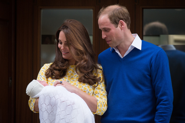 Prince William and Catherine, Duchess of Cambridge, show their newly-born daughter to the media outside the Lindo Wing at St Mary's Hospital in central London.