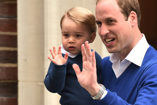 Prince William left the hospital to pick up 21-month-old Prince George, who offered the crowds a wave with his father.
