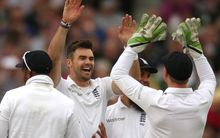 The England bowler James Anderson celebrates taking a wicket.