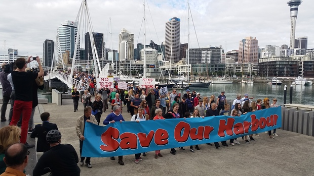 About 1500 people took part in the march against the port extension in Auckland.