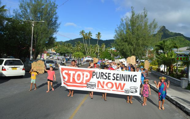 A protest against purse seine fishing in Rarotonga, Cook Islands in April 2015