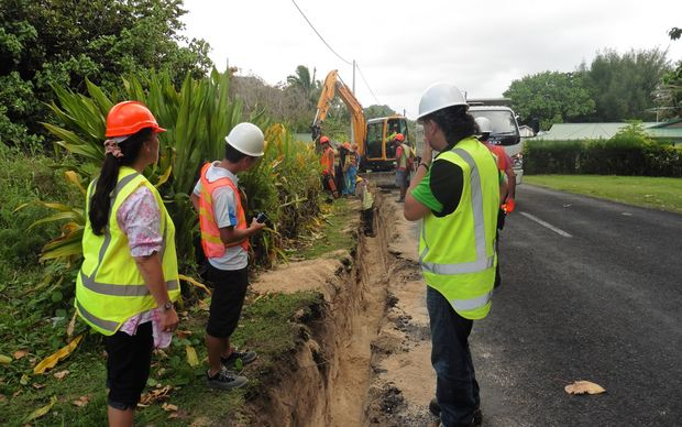 Work on the Te Mato Vai water project in Rarotonga, Cook Islands