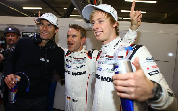 Mark Webber, Timo Bernhard and Brendon Hartley