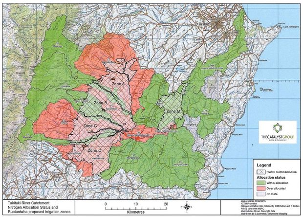 A map used as part of Board of Inquiry proceedings shows areas in red which currently exceed resource consent for nitrate leaching.