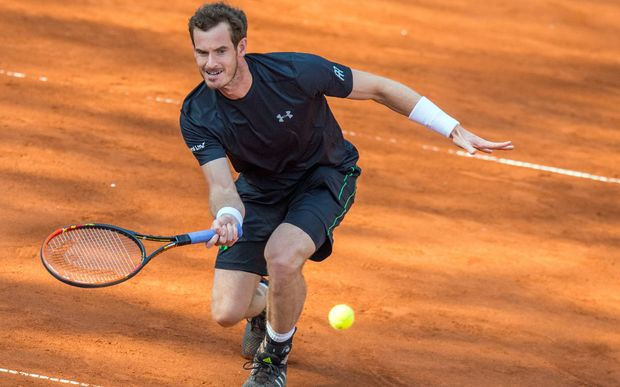 Andy Murray playing at the Munich Claycourt Open in Germany.