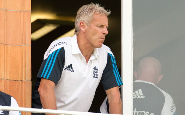 Peter Moores on the balcony at Lords, 2014.